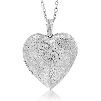 """Locket Pendant Necklace Charm 1.5"""" Engraved Flowers Heart Shape + 28 Inch Chain"""