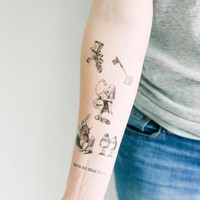 Set of Alice in Wonderland Temporary Tattoos