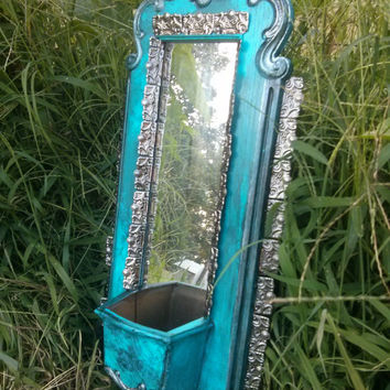 Mexican Tin Art Style Turquoise Distressed Mirror Wall Art Planter