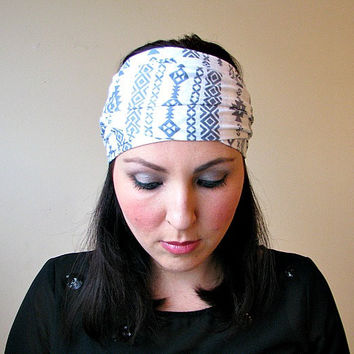 White & Gray Tribal - Head scarf