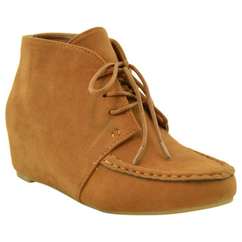 Womens Ankle Boots Lace Up Moccasin Hidden Wedge Shoes Tan