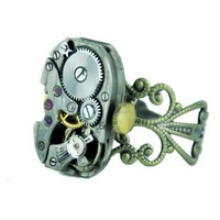 Steampunk Watch Gears Ring Adjustable One Size Gothic Jewelry