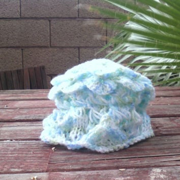 Baby Girl Sunhat with knit madeira and crochet broomstick lace and crochet crocodile scales