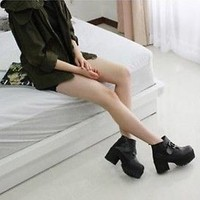 Ladies Black Punk Gothic Buckle Strap Chunky Heels Platform Ankle Boots