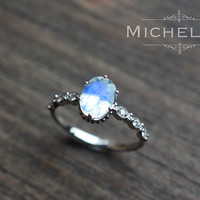 White Gold Moonstone Engagement Ring with Diamond, 14K 18K Gold Rainbow Moonstone Crown Promise Ring, Blue Moonstone, Vintage Moonstone Ring