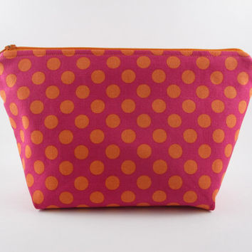 Polka dot make up bag, dotty bag, pink and orange bag, zip pouch, boxed corners, Mother's Day gift.