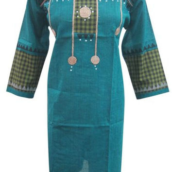 "Women's Indian Ethnic Kurta Tunic Blue Printed Cotton Boho Dress Kaftan (Chest:48"")"