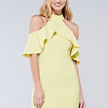 Frill Halter Neck Dress - Lemonade