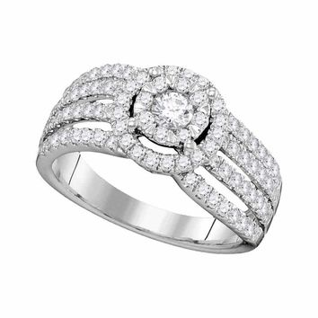 14kt White Gold Women's Round Diamond Solitaire Halo Strand Bridal Wedding Engagement Ring 1.00 Cttw - FREE Shipping (USA/CAN)