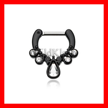 Black Septum Clicker Radiant Kao 16g 14g Septum Ring Cartilage Earrings Nipple Ring Circular Barbell Tragus Jewelry Helix Conch