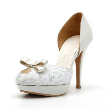 Ivory Cover Toe Platform Wedding Heel with Peek-A-Boo opening. Ivory french lace wedding heel, Ivory Bridal Heels