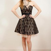 50's Glamour Parisian Style Lace Prom Dress