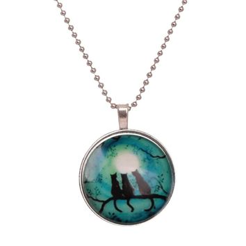 Glow in the Dark Cabochon Glass Art Cat Trio Pendant Necklace