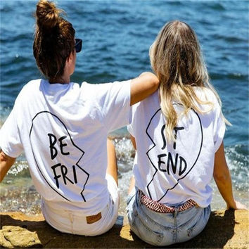 2016 Summer Best Friends T Shirt Print Letter BE FRI ST END Women T-shirt Fashion Short Sleeve Women Clothing White Black