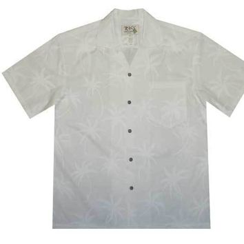 KY's Mens White Button Down Hawaiian Shirt with Palm Trees