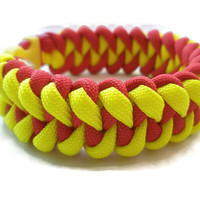 Yellow and Red Paracord Survival Bracelet