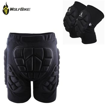 WOSAWE Protective Shorts Motocross Off Road Bike Resistance Roller Armor Shorts+Knee Protective Pads Skateboard Kneepad Guard