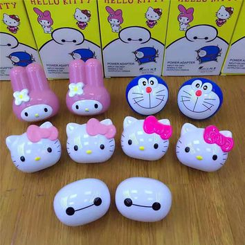 JERX Cute Wall USB charger For IPhone 8 X 7 Plus 5V/1A US Plug For Hello Kitty Baymax Lovely USB charging For Huawei Smartphone