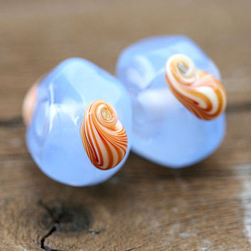 Lampwork blue beads  handmade glass SRA pair  organic by MayaHoney