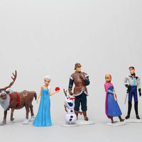 Frozen Anna Elsa Hans Kristoff Sven Olaf PVC Action Figures Toys 6pcs/set Animal Princess Figurine Kids Gift