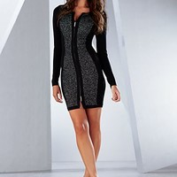 Black & Silver (BKSL) Zip Front Sweater Dress