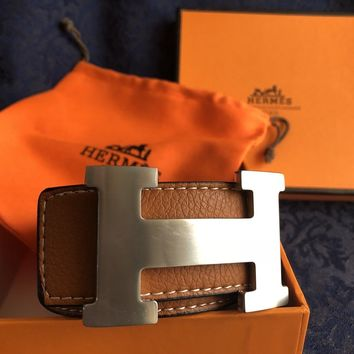 Silver Buckle Brown Leather Hermes Belt 110 cm