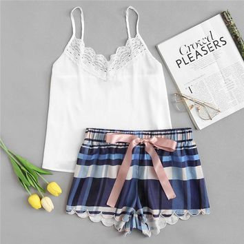 RWL Boutique -  Lace Spaghetti Strap Cami & Scalloped Plaid Shorts Pajamas Set Women Sleeveless Casual Nightwear 2018 Girl School 2 Pieces