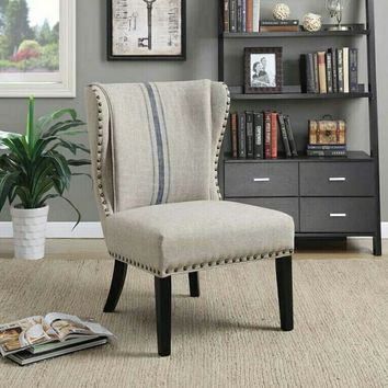 Coaster 902496 Lizette collection blue/grey fabric upholstered accent chair with nail head trim