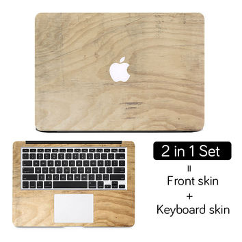 "Wood Texture Full Cover Skin Laptop Sticker for MacBook Air Pro Retina 11"" 12"" 13"" 15 Protective Mac Computer Notebook Decal Set"