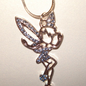 "Tinkerbell Tink Charm Silver Plated 18"" Necklace Birthstone Aquamarine March"
