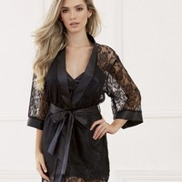 Sultry and Sexy Lace Robe and Satin Charmeuse Babydoll