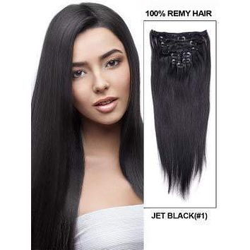7 Pcs Remi Clip In  100% Human Hair Extensions 100g #1