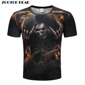 DCCKD9A Heavy metals T shirts Men 3D T-shirts Hip Hop Tops Funny Rock Tees Skull Printed Tshirts Band Summer Casual Camiseta