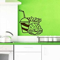 Wall Vinyl Sticker Decal Cheeseburger with Drink and French Fries Art Design Nursery Room Nice Picture Decor Hall Wall Ki106