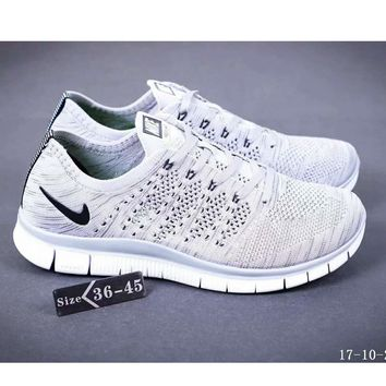 Nike NIKE FREE FLYKNIT NSW barefoot line running shoes high quality perfect new goods F-SSRS-CJZX White