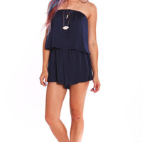 TUBE TOP BLOUSON ROMPER - NAVY