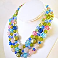 Glass Necklace Multi Color 3 Strand Vintage ABs Crystal