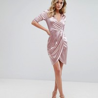 Club L Wrap Dress In Satin at asos.com