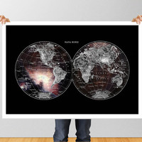 Poster Print wall Art World Map cosmos galaxy