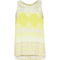 River Island Womens Yellow floral print embroidered neck tank