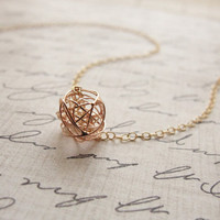 Little Rose Gold Tangle Ball Necklace