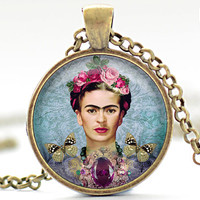 Frida Kahlo Necklace, Feminist Necklace, Frida Kahlo Charm, Frida Kahlo Jewelry  (345)