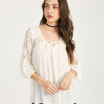 Lace-Up Gauze Blouse With Lace Trim | Wet Seal