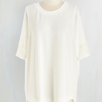 Mid-length Short Sleeves Best of Basics Top in Ivory by ModCloth