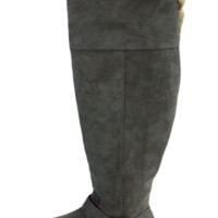 Grey Faux Suede Over The Knee Boots With Faux Fur Trim