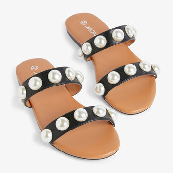Imitation pearl sandals - Black magic - Shoes - Monki GB