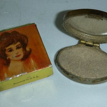 60's Vintage Mod Avon Gold Satin Eye Shadow Compact 1960s New Old Stock Eye Highlight Makeup Collectible Cosmetic Beauty Vanity Display Prop