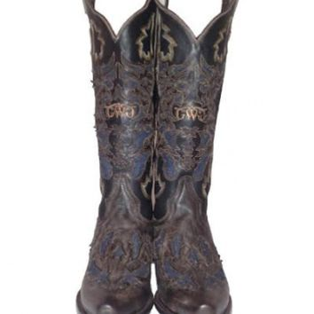 Annie Boot Collection - Brown Leather / Denim Inlay | Girls with Guns Clothing
