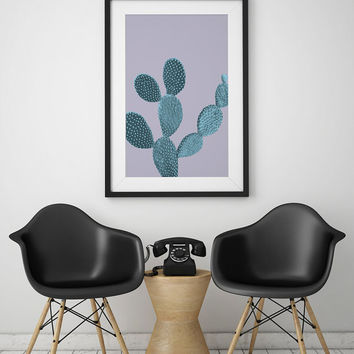 Cactus Print, Cactus Wall Art, Mint Cactus Poster, Wall Decor, Wall Art, Plant Print, Plant Wall Art, Cool Home Decor, Botanical Print, 5x7