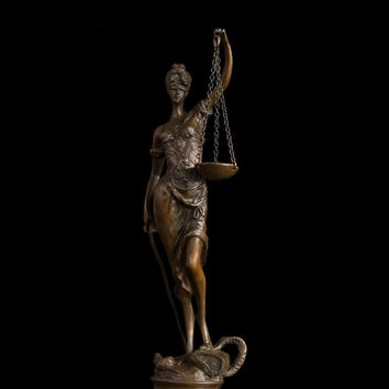 Bronze Lady Scales of Justice Sculpture